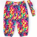 Harem Pants & Head Scarf Set - Girls - Rainbow Geo - Bright - Pink - Yellow