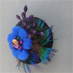 Felt and Feather Design Brooch - Bold Blues