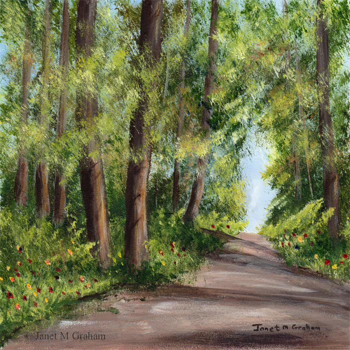 summer forest trees path original landscape painting acrylic