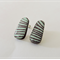 Blue Striped Large Hanging Wooden Earring Studs