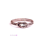 Rose gold double knot ring, buckle ring