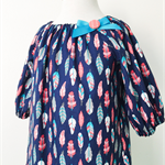 3/4 sleeved Smock - Feathers - Navy - Pink - Dress
