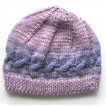 Girls HANDMADE Lilac Cable Knitted Wool Beanie Hat. Size - Age: 3 4 5
