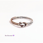 Rose gold love knot ring, two tone ring, double love knot ring