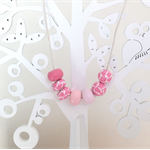 Polymer Clay Bead Necklace In shades of pink and Rose Patten beads
