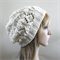Winter beret in cream ivory off-white soft wool hand knit slouchy women hat