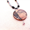 Buddha - painted art pendant - silver/black beaded necklace