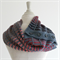 handknit wool button cowl scarf, wool silk scarf, winter fashion, grey and red