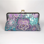 Purple medallions large clutch purse