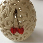 long drop red glass heart colour earring - earrings bronze tone view store