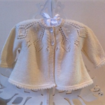 Baby Lacy Cardigan, 6 - 12 mths, Wool, Hand Knit, Cream