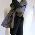 Blue/black/grey scarf from vintage silk kimono fabric. Paisley reverse.  Unisex.