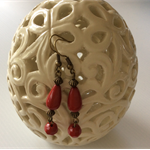 long drop red colour earring - earrings bronze tone view store more designs