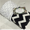 Handmade black and white chevron minky baby pram blanket 100x70cm.