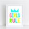 Girls Rule Nursery/ Bedroom Wall Art Print - A4 Unframed