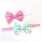 Bow Headband Set - Pink Spots - Aqua Floral