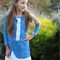 Blue and White Frilled Winter Dress Girl's Size 10