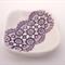 Purple porcelain square ring dish, ring holder. Ceramic ring bowl. Lace.