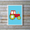 Colourful and cute tractors for boys, tractor print on baby blue dotted backgrou