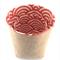 2 small Hessian / burlap storage baskets - Red Japanese wave storage bins