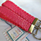 Pink Faux Leather braided Belt Key Fob, Key Chain, Wristlet Fob, Key Ring