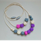 Silicone Teething Necklace - Mama+Me Set - Geo Purple, Pink, Grey, Cream