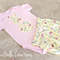 Size 0 Bunny Set - Applique Pink Onesie with Yellow Paperbag Waist Shorties