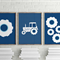 Personalized nursery art- big tractor wheel package prints, tractors for kids