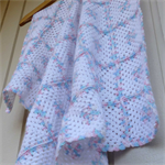 baby blanket | crochet granny squares | white, multicolour pastel pink & blue