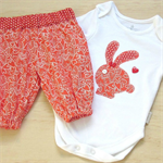 Girls 2 piece, romper, harems, applique, bunny rabbit, hearts, onesie, coverall