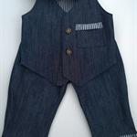 Denim Set : Pants / Vest / Cap Size 6 - 9 months