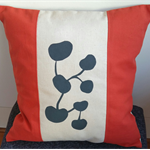 Cushion Cover - offwhite/burnt orange with handprinted charcoal grey design