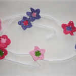 Crochet garland bunting girls room nursery decoration - butterflies and flowers