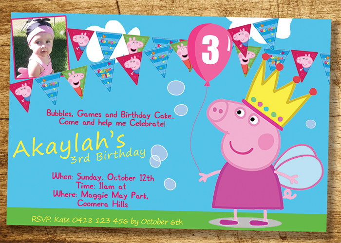 Peppa Pig Invitation Birthday Invite Personalized Custom