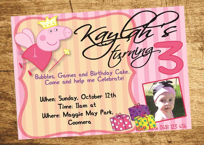 Peppa Pig Invitation Birthday Invite Personalized Custom