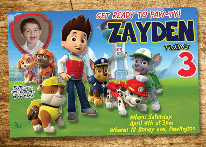 Paw Patrol Invitation Birthday Invite Personalized Custom