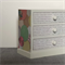 Wooden jewellery box trinket box chest of drawers decoupaged with crinkle circle