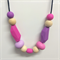Silicone & Wooden Bead Teething Necklace - Pink & Purple