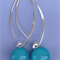 Turquoise Sterling Silver Fused Glass Drop Earrings