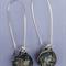 Salmon Crackle Sterling Silver  Fused Glass Long Danglies Earrings
