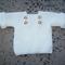 Hand knitted, creamy white, garter stitch pullover Size 6 - 12 months