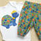 Boys 2 piece turtle applique onesie and smiley face pants.