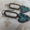 Aged Patina Leaf Earrings