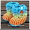 Crocodile Stitch Baby Booties - crochet booties blue, orange Size 0-6 months