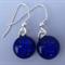 Fused Glass Danglies Earrings ~ Blue Crackle ~ Sterling Silver