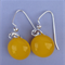 Fused Glass Danglies Earrings ~ Taxi Yellow ~ Sterling Silver