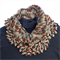 Crocheted cowl scarf in rich brown, grey, fawn tones.