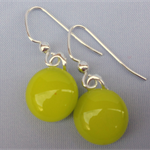 Fused Glass Danglies Earrings ~ Lemongrass/Citron ~ Sterling Silver