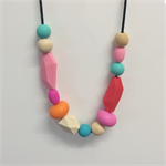 Colourful Silicone & Wooden Bead Teething Necklace