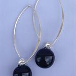 Black Sterling Silver Fused Glass Drop Earrings